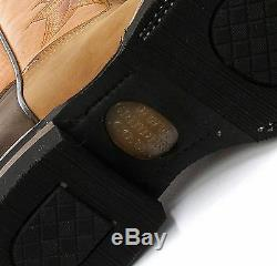 New Grinders El Paso Tan Brown Real Leather Cowboy Boot Slip On Mid Calf Boots