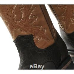 New Grinders Frontier Tan Brown Real Leather Cowboy Boot Slip On Mid Calf Boots