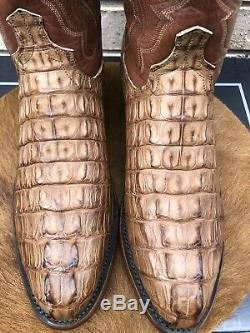 New! Lucchese Barnwood Brown Tan Tail Cut Alligator Cowboy Western Boots 9 D