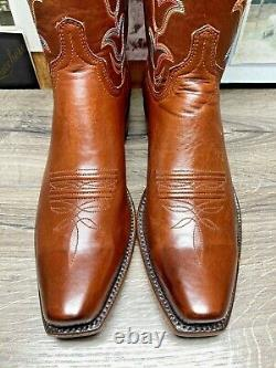 New Lucchese Bootmaker 10d Burnished Tan Ranch Hand Mens Cowboy Boots Snub Toe