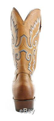 New Lucchese Mens Kd1505.73 Tan Burnished Cowboy, Western Boots Size 10 (EE)