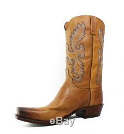 New Lucchese Mens Kd1505.73 Tan Burnished Cowboy, Western Boots Size 13