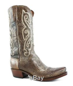 New Lucchese Mens Tan Burnished Cowboy, Western Boots Size 10.5 (EE)