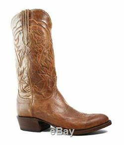 New Men's Lucchese (USA) HL1504.24 Tan Burnished Mad Dog Goat 2 Toe Cowboy Boots