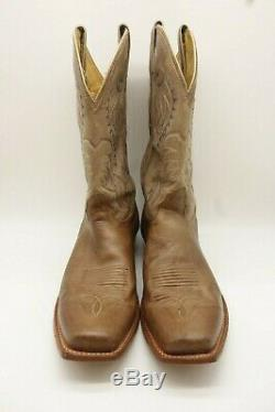Nocona Tan Leather Classic Cowboy Western Boots Shoes Men's 12 EE