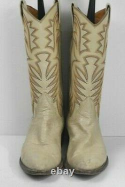 Nocona Women 7.5 A Tan Ivory Smooth Ostrich Leather Classic Western Cowboy Boots