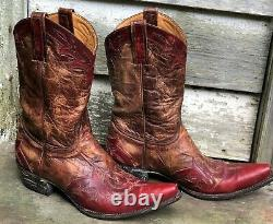 OLD GRINGO Red/Tan/Brown DISTRESSED Leather VINTAGE LOOK Cowboy Boots 9.5 Offer