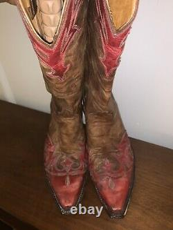 OLD GRINGO Red/Tan/Brown DISTRESSED Leather VINTAGE LOOK Cowboy Boots Size 8