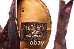 OLD GRINGO Tan Leather Cowboy Boots 9 Pink Floral Embroidery Rhinestone Western