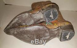 Old Gringo Apache Stitch Tan Leather/Embroidered Cowboy Boot Wm Sz 7M New WithTags