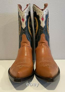Old Gringo Embroidered Green Tan Leather Inlay Short Cowboy Boot Women SZ 7B