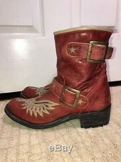 Old Gringo Hard To Find Red & Tan Eagle Cowboy Boots Size 8 Beautiful