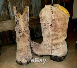 Old Gringo Leopardito Ochre Tan Leopard Distressed Leather Cowboy Boot Wmn. 8 M