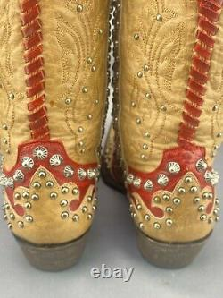 Old Gringo Raelene Leather Boots Studded Red/ Tan Stunning Sz 8