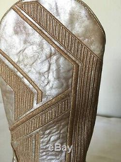 Old Gringo Womens 7.5B Tan Gold Embroidery Leather Western Cowboy Boots