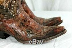 Old Gringo Womens Sz 7 B Brown & Tan Leather Overlay Embroidered Cowboy Boots