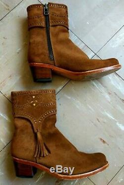 Penelope Chilvers Tan Suede Western Boots Tassel Cutout Detail 38.5 UK6 On Trend