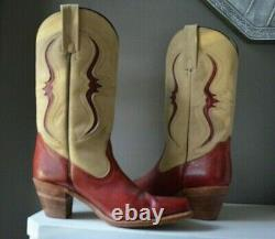 RARE VINTAGE FRYE RED & TAN LEATHER WESTERN COWBOY BOOTS Excellent Condition