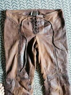 Rare Vintage 1980 Genuine Plein Sud Real Leather Tan Brown Trousers 40/8