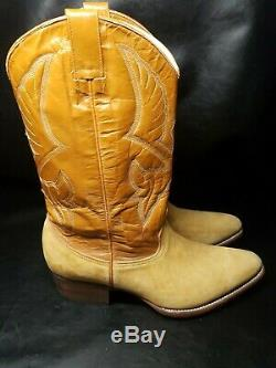Rare Vintage Men's Tan Suede Cowboy Boots Size 11.5, 12 Custom Made Western $900