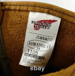 Red Wing Mens 1105 Pecos Tan 11 Pull On Work Leather Boots Soft Toe Size 16 New