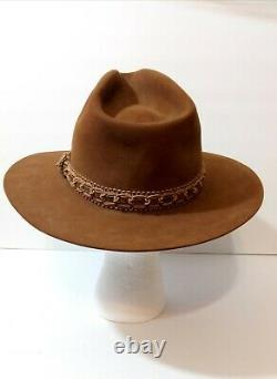Resistol Self-Conforming Western Long Oval Trimmed Felt Hat 7 3/8 Made in Texas