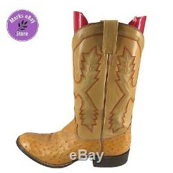 Rios of Mercedes Full Quill Ostrich 11.5 D Tan Cowboy Western Boots Gently Used