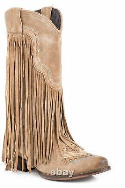 Roper On The Fringe Womens Tan Leather Cowboy Boots