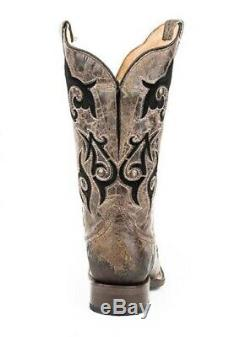 Roper Women's 10 Wide Calf Fit Velvet Inlay Square Toe Tan Leather Cowboy Boots