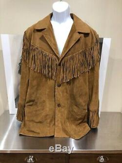 Scully Mens Western Suede Fringe Jacket Brown Tan Leather Long Sleeve Lined 44
