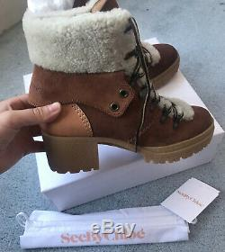 See By Chloe Hiking Suede Leather Ankle Boots Shearling Tan Brown 40 7 £349