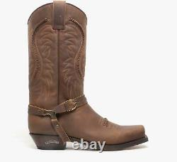 Sendra 3434 Mens Leather Pull On Mid Calf Western Cowboy Boots Mad Dog Tan