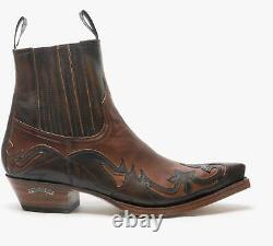 Sendra 4660 Mens Leather Pointed Cuban Heel Western Cowboy Boots Brown/Tan