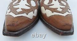 Sendra tan & cream cut out leather work cowboy boots, size EUR 40/UK 7