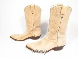 Stewart Western/Cowboy Handmade Tan Goat Leather Boots with Pegged Soles, 11.5D