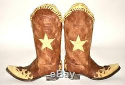 The Old Gringo Spirit of Texas Inlay Brown Tan Leather Cowboy Western Boots 7.5