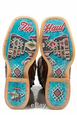 Tin Haul Womens Crackled Tan Leather Birds Of A Feather Cowboy Boots