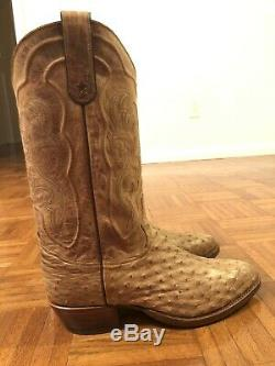 Tony Lama 8964 antique tan Full Quill Ostrich Cowboy Boots Round Toe 10.5