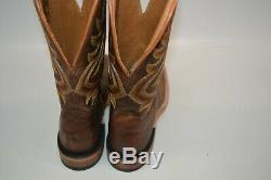 Tony Lama AMERICANA Men's 10 D TAN BROWN Western Boots Square Toe 7956 USA MADE