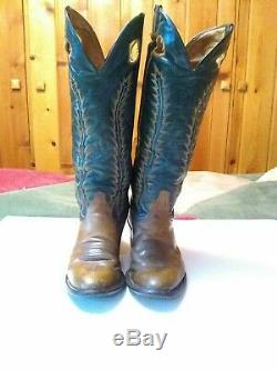 Tony Lama Cowboy Boots 8.5 D 6460 Leather Western Rodeo Boots Green Tan USA VTG