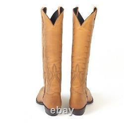 Tony Lama Tall Tan Cowboy Boots Women's 8.5B Excellent Worn Once Vintage