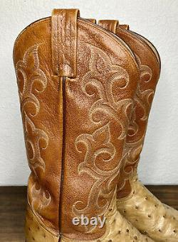 Tony Lama Western Cowboy Ostrich Boots Full Quill Tan Mens Size 8.5 D USA Made