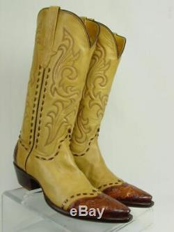 USA STALLION Women 8-C Tan Hand Tooled Leather Horse Western Cowboy Boots