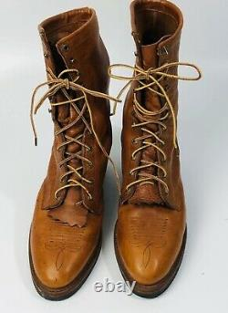 Vintage Chippewa Mens Western Packer Boots Tan/Brown Lace Up Mid Calf 12 D Rare