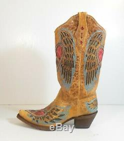 Vintage Corral Women Tan Angel Wing Heart Embroidered Western Cowboy Boots 9 M