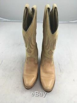 Vintage EUC Frye Western Boots 7178 Pink Tan Leather Womens 5B USA MADE COWBOY