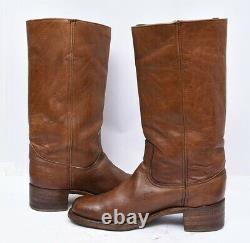 Vintage FRYE USA CAMPUS Mens Sz 10.5 Tan Leather Western Riding Work Boots