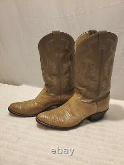 Vintage JUSTIN BOOTS USA Made Gray/Tan Leather Cowboy/Western Boots Mens 12D