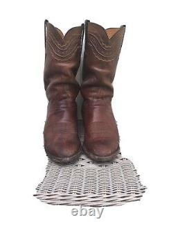 Vintage Lucchese Classics Mens Handmade Cowboy Boots Size 12 Tan/brown