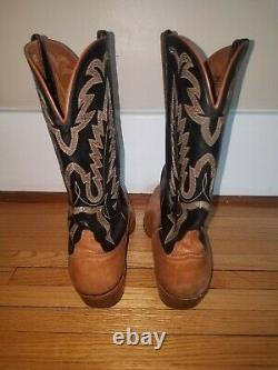 Vintage Lucchese Cowboy Western Boots Black and Tan Ex Cond 10.5 L0997